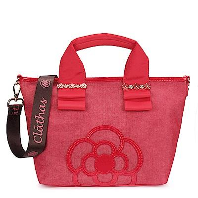 CLATHAS 山茶花裝飾丹寧織布兩用托特包-小/紅色