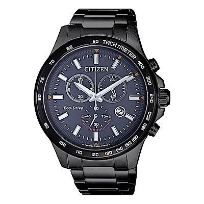 CITIZEN 星辰光動能三眼計時手錶(AT2425-80H)-藍灰X黑/43mm
