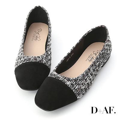 D+AF 法式風尚.格紋毛呢拼接娃娃鞋*黑