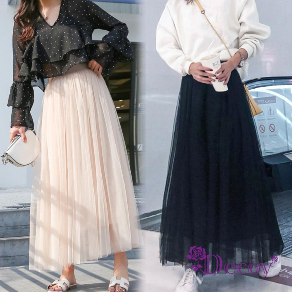Decoy 溫柔網紗 彈性半身蓬蓬三層網紗長裙 2色可選