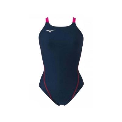 MIZUNO SWIM 女連身泳衣-泳裝 游泳 海邊 競賽 美津濃 N2MA826187 丈青桃紅銀
