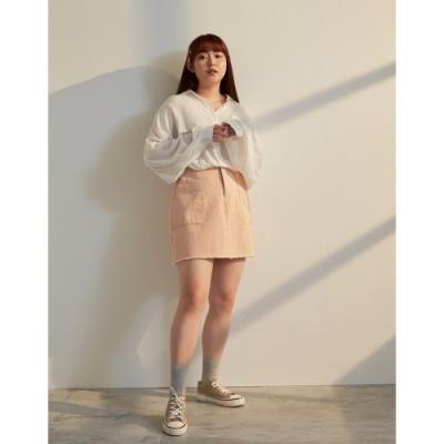 Shester55-中大尺碼-刷鬚斜紋短裙(二色)-女【XSD003】