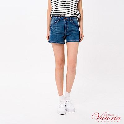 Victoria 中高腰玫瑰刺繡短褲-女-中藍