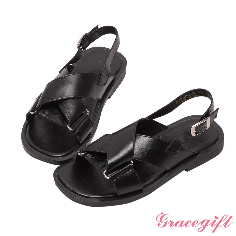 Grace gift-交叉寬帶拼接平底涼鞋 黑