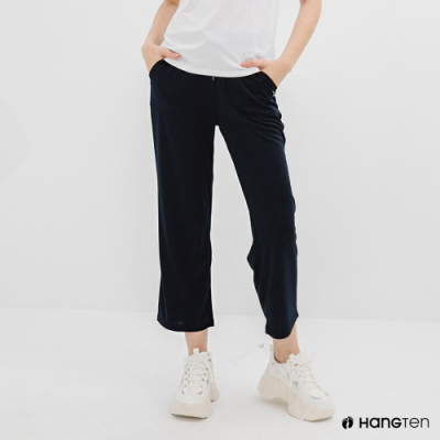 Hang Ten-女裝-恆溫多功能-REGULAR FIT標準鳥眼吸排紗涼感抗菌除臭九分運動長褲-深藍色