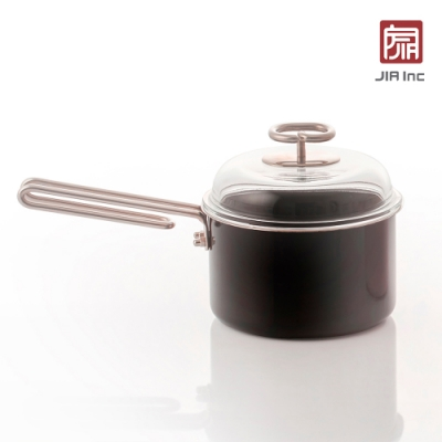 JIA Inc. 品家家品 虹彩鋼 琺瑯單柄鍋16cm-黑色