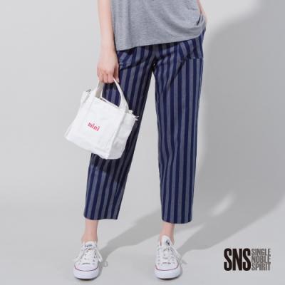 SNS隨興慵懶純棉粗條紋九分寬褲1色