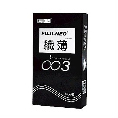 FUJI-NEO 不二新創 纖薄 衛生套 保險套 黑 12入