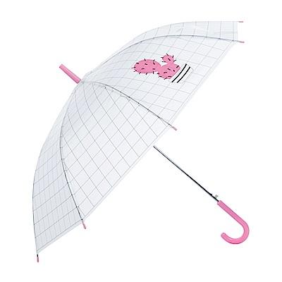 樂嫚妮 自動開傘/直立雨傘-多肉植物仙人掌- 粉