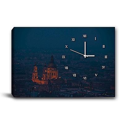 24mama掛畫-單聯式橫幅 掛鐘無框畫-夜幕低垂-60x40cm