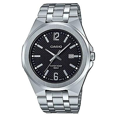 CASIO 現代都會城市風格型男不鏽鋼腕錶-黑面(MTP-E158D-1A)/44mm