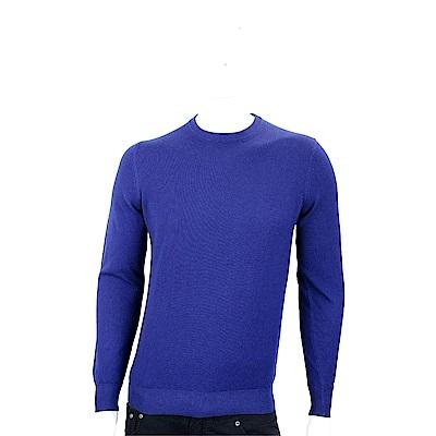Andre Maurice 喀什米爾寶藍色圓領羅紋細節羊毛衫(男款)