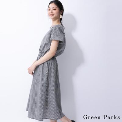 Green Parks 復古格紋V領鬆緊腰連身洋裝