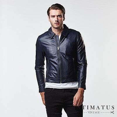 INTIMATUS 真皮 復古飛官設計單領式小羊皮皮衣 穩重深藍