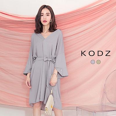 東京著衣-KODZ 慵懶知性V領寬袖腰綁結洋裝-S.M.L(共兩色)