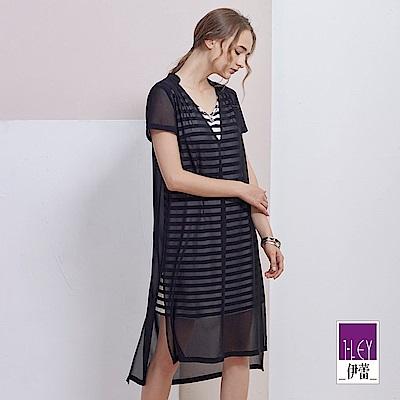 ILEY伊蕾 簡約條紋兩件式洋裝(黑)