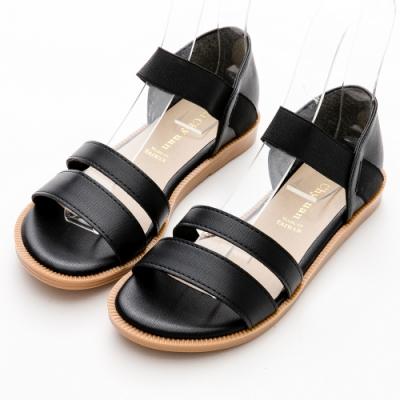 River&Moon涼鞋 台灣製簡約雙一字羅馬平底涼鞋 黑