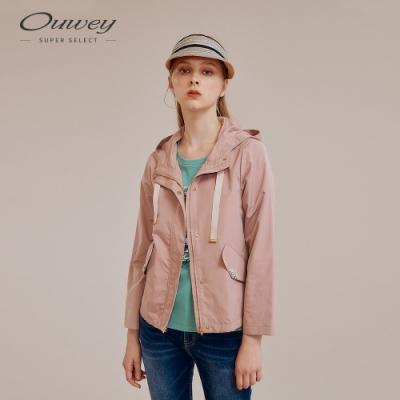 OUWEY歐薇 手縫珠飾連帽外套(粉/綠)
