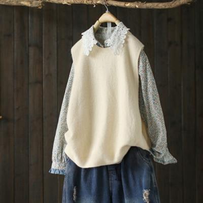 寬鬆單色短版針織衫背心毛衣馬夾上衣-設計所在