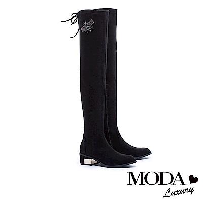 過膝靴 MODA Luxury 完美顯瘦蜜蜂造型金屬拼跟綁帶過膝靴-金蔥黑