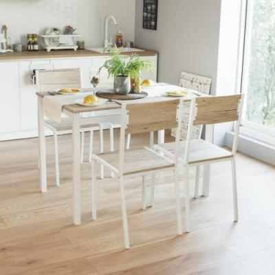 完美主義 北歐風木紋餐桌椅組-一桌四椅/餐椅(2色)