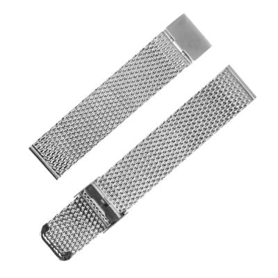 Watchband / DW代用 各品牌通用 透亮輕巧 米蘭編織不鏽鋼錶帶 銀色