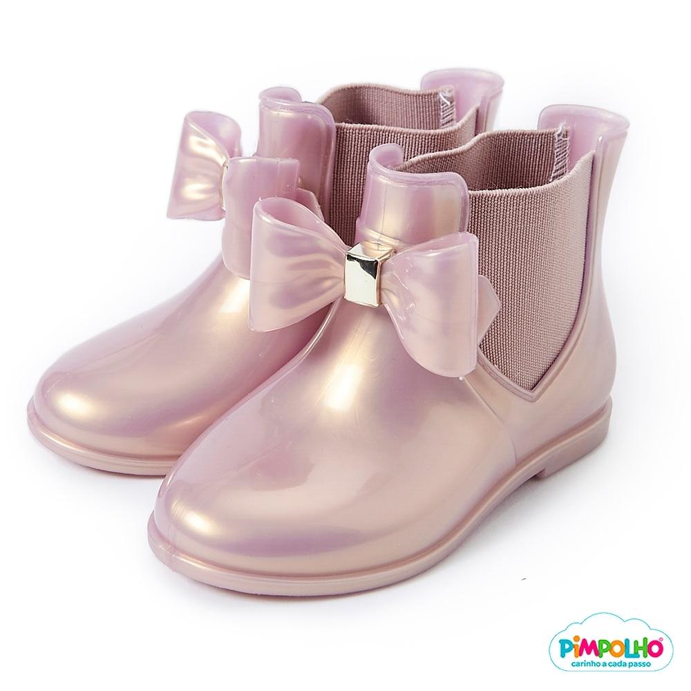 Pimpolho 甜心蝴蝶結小童雨靴-金色
