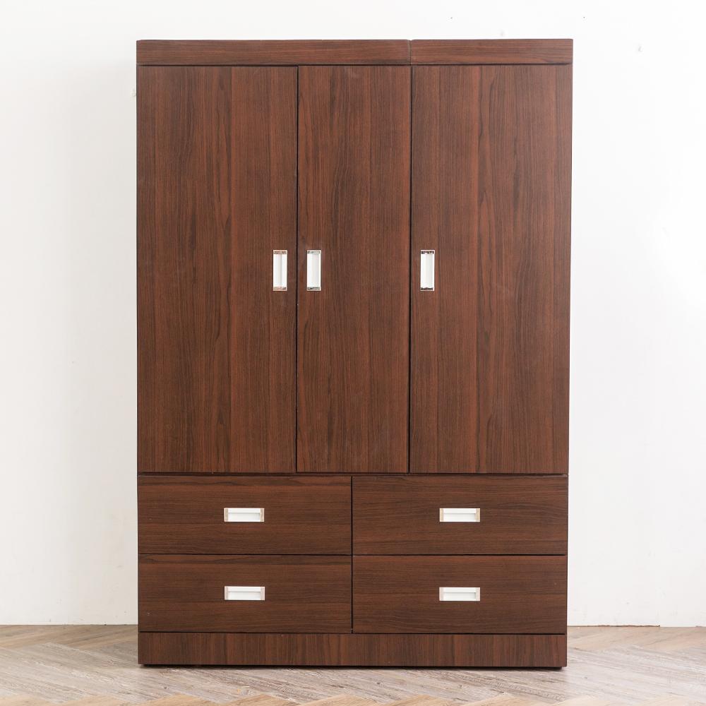 時尚屋 凱特胡桃4x6尺衣櫃 寬120x深60x高175.5cm
