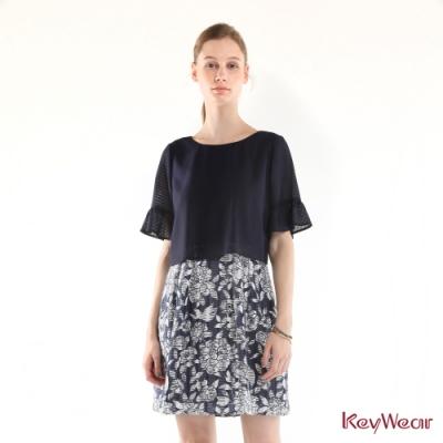 KeyWear奇威名品     假兩件式立體玫瑰印花短袖洋裝-深藍色