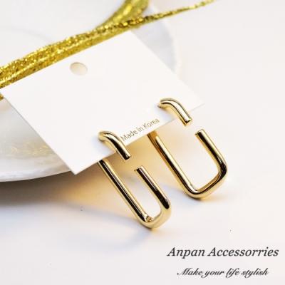 【ANPAN愛扮】韓南大門個性大C型金扣耳釘式耳環