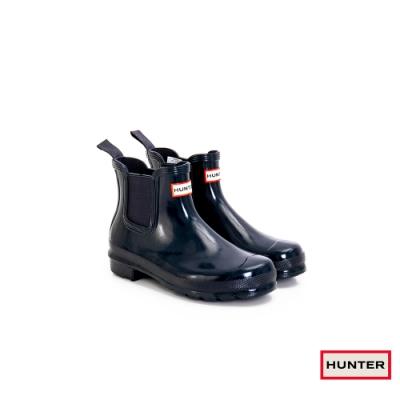 HUNTER - 女鞋 - Original切爾西亮面踝靴 - 藍