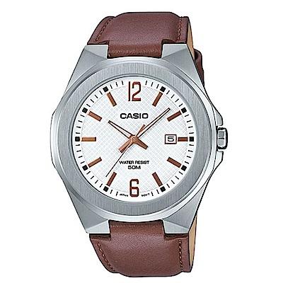 CASIO 現代都會感城市男子時尚皮帶腕錶-白面(MTP-E158L-7A)/44mm