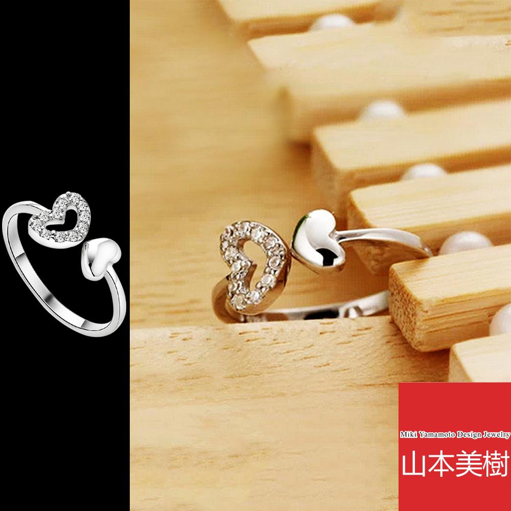 山本美樹 925銀鍍白金心心相印愛心開口戒指