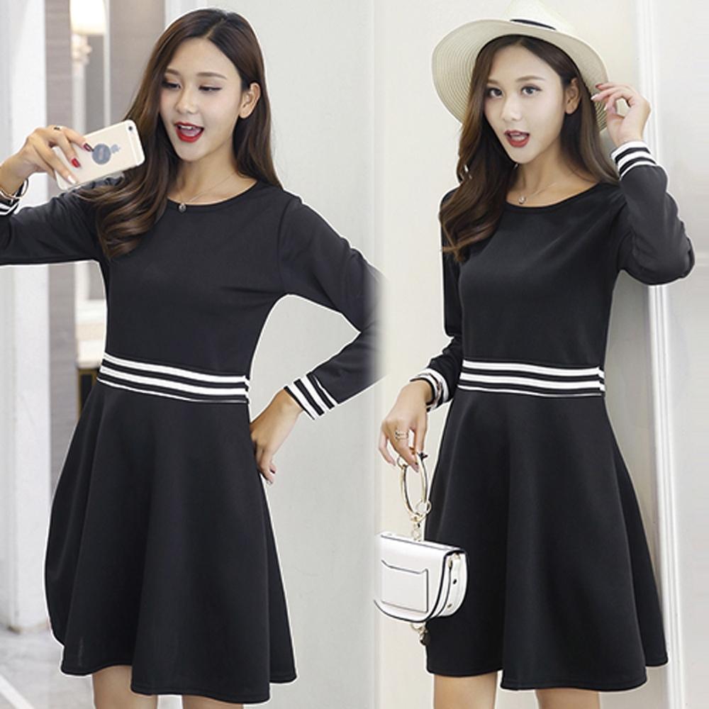 【韓國K.W.】小香風黑色拼接腰帶洋裝