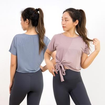 運動上衣 慵懶感小缺口短版罩衫-2色 LOTUS