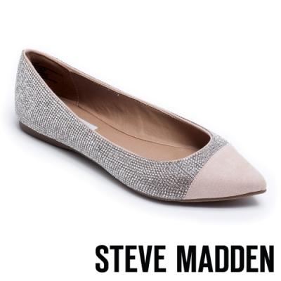 STEVE MADDEN DELANCY 鑽面尖頭撞色平底鞋-銀色
