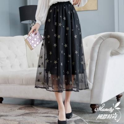 Mandy國際時尚 星星網紗蓬蓬半身紗裙