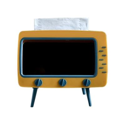 多功能 造型手機架 面紙盒 電視機 造型 面紙盒 北歐風 紙巾盒