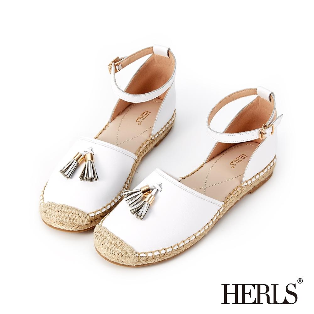 HERLS 輕恬可人 內真皮流蘇踝帶麻底涼鞋-白色