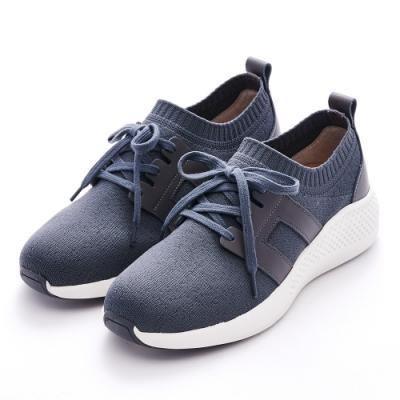 G.Ms. MIT極輕量-針織拼接牛皮綁帶休閒鞋-灰色