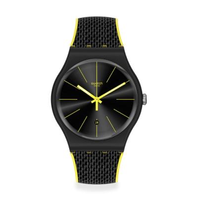 Swatch 原創系列手錶 NIGHT CORD 個性暗夜黑-41mm