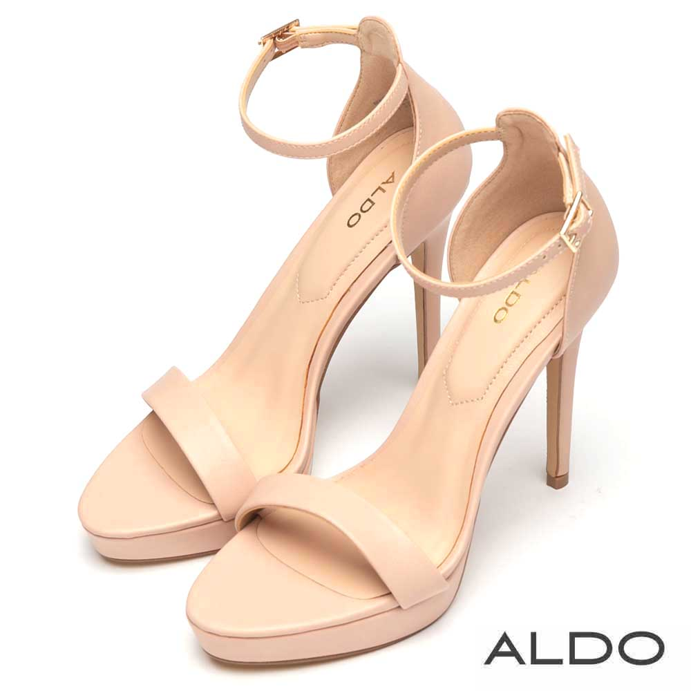ALDO 原色一字厚底鏤空繫踝細高跟鞋~氣質裸色
