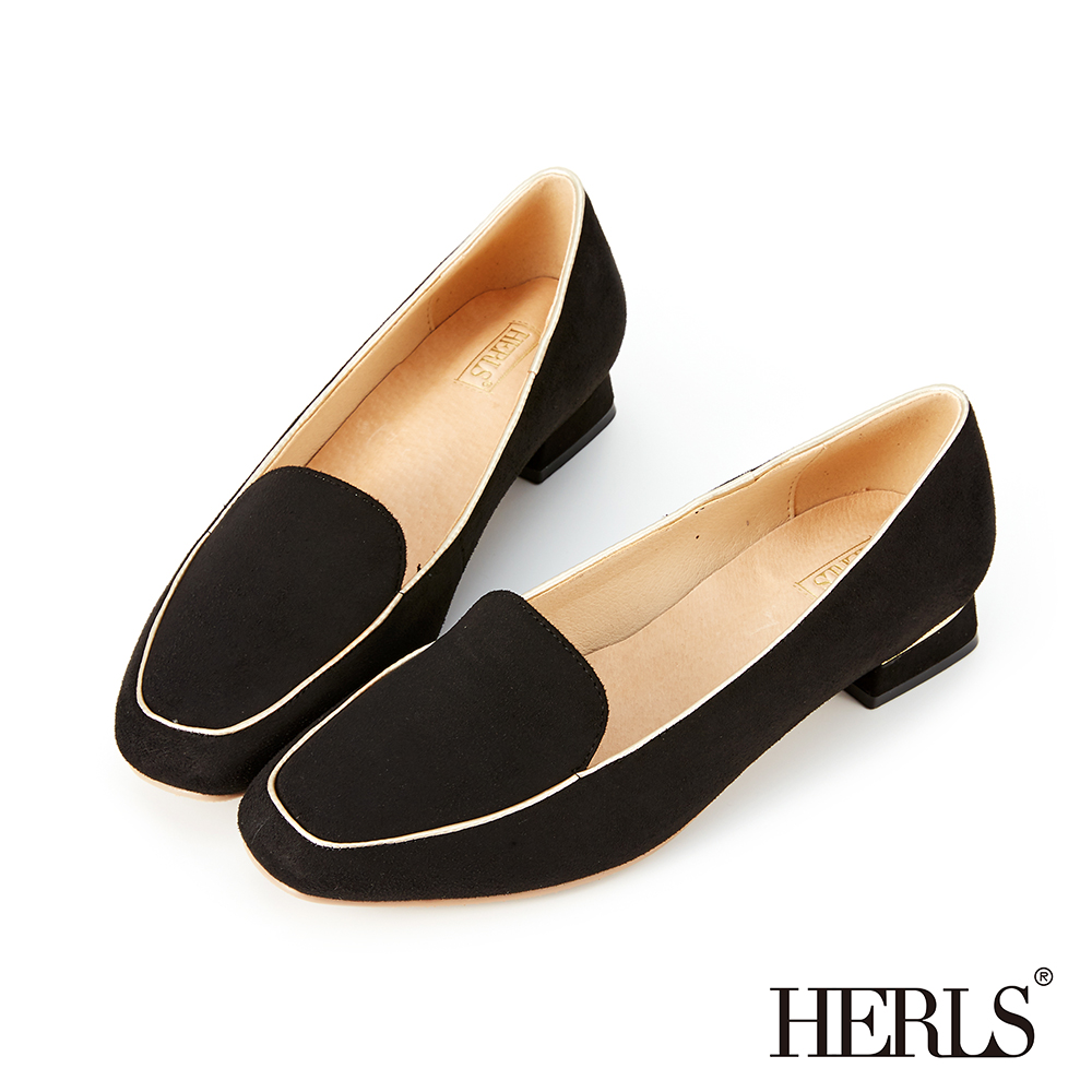 HERLS 優雅日常 內真皮配色滾邊麂皮低跟樂福鞋-黑色 @ Y!購物