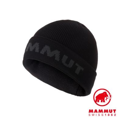 【Mammut 長毛象】Cruise Beanie LOGO反摺保暖羊毛帽 黑/幻影灰 #1191-00490