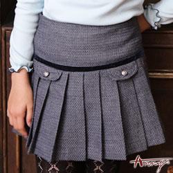 Annys學院高級金釦造型口袋百褶短裙*6272藍