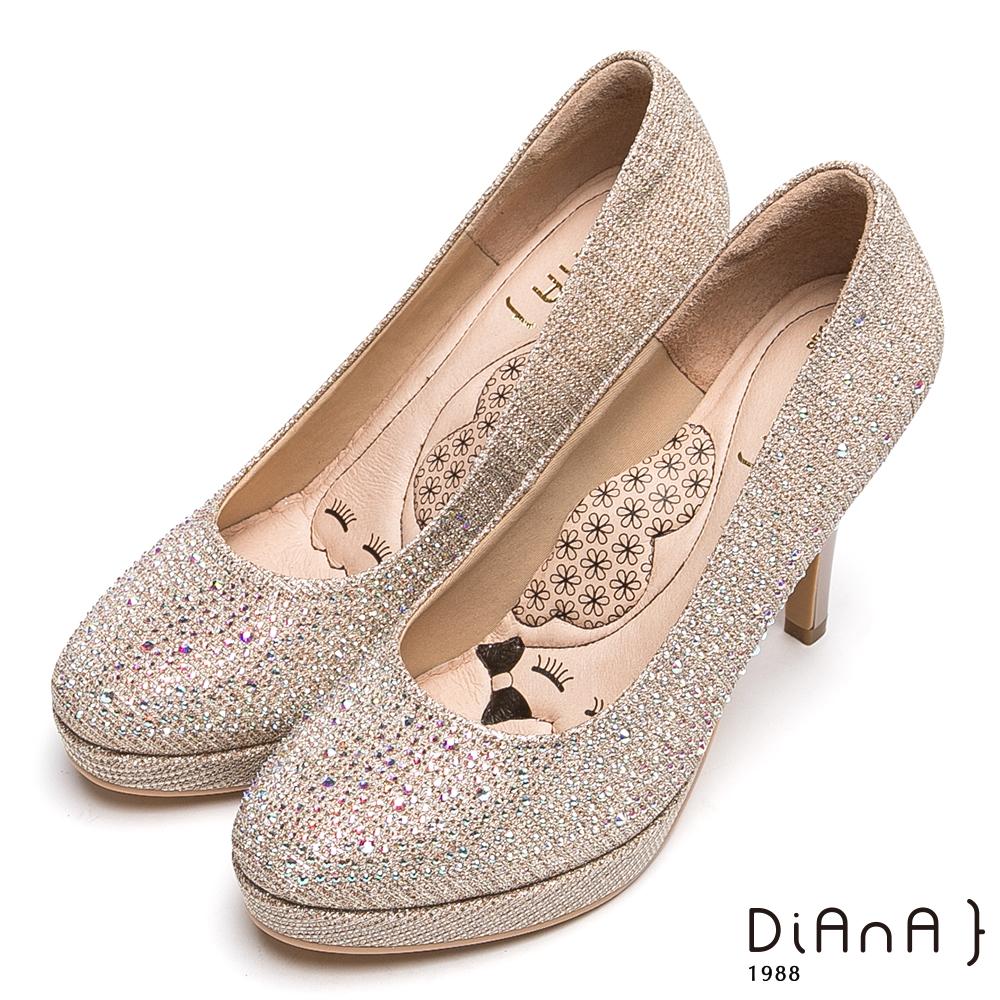 DIANA奢華閃耀水鑽時尚跟鞋-漫步雲端瞇眼美人款-金