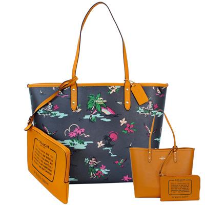 COACH午夜藍夏威夷風情畫雙面使用肩背購物托特包(大)