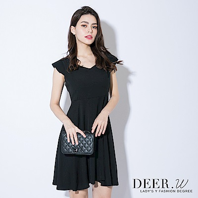 DEER-W-雙V領蝴蝶結綁帶洋裝-共三色