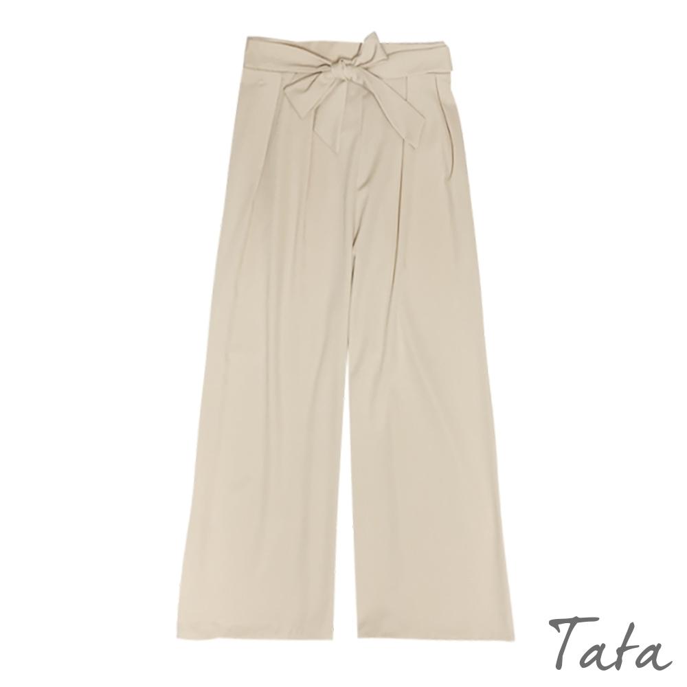 素色綁帶涼感雪紡寬褲 共二色 TATA-(M~XL)