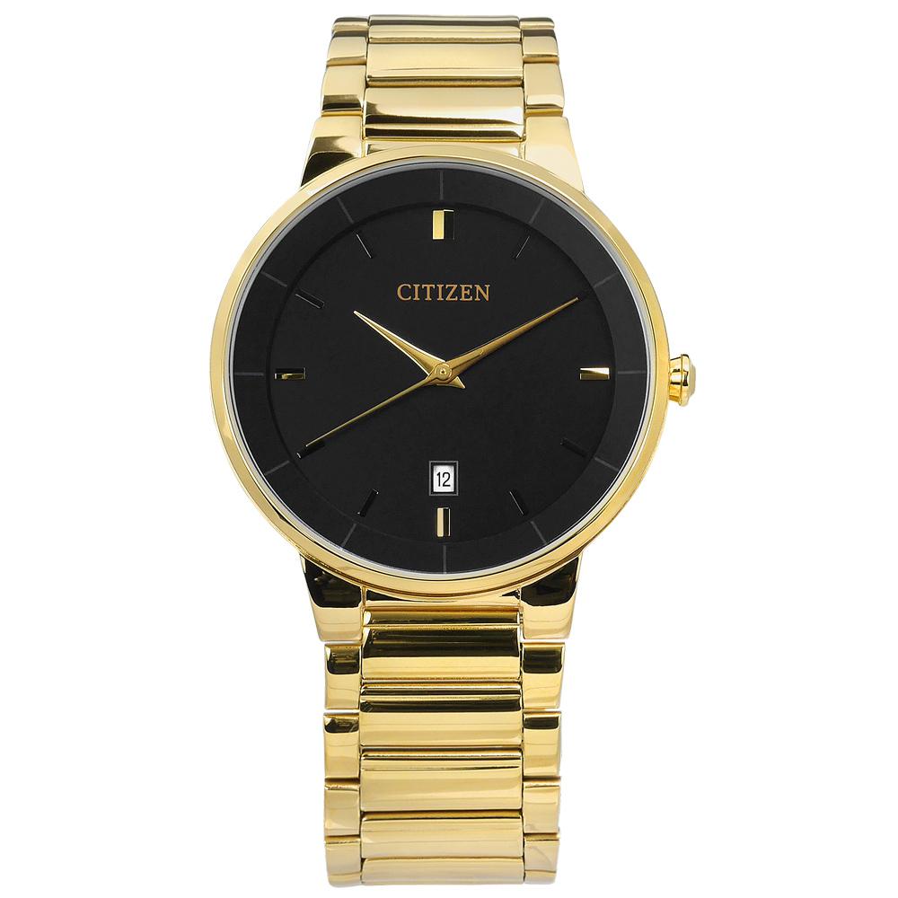 CITIZEN 極簡立體日期不鏽鋼(BI5012-53E)手錶-黑x鍍金/40mm @ Y!購物